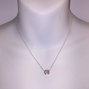 Jewelry - Sterling silver 925 Necklace with pink crystal